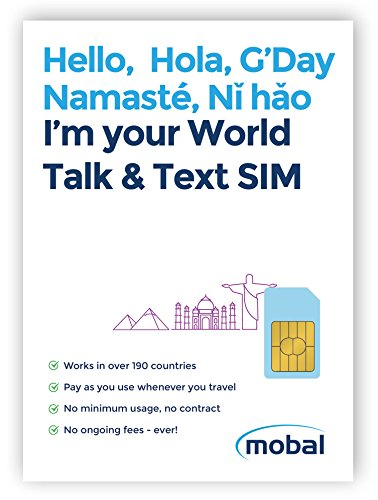 World Talk & Text SIM Card by Mobal. Works in Over 190 Countries - Just $15 for Life - No Monthly Fees, No Minimum Usage, No Contract (Best Sim Card To Use Abroad)