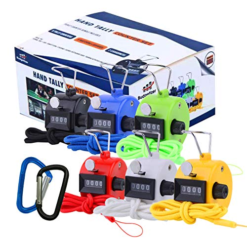 (Hand Pitch Tally Counter Clicker –6 Pack Handheld People Lap Counter Clickers with 6 Lanyard and 2 Carabiners–Assorted Color Manual Mechanical 4 Digit Number Finger Ring for Umpire Baseball Click Golf)