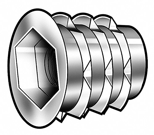 7/16'' Die Cast Zinc Alloy Hex Drive Threaded Insert with 10-32 Internal Thread Size; PK50