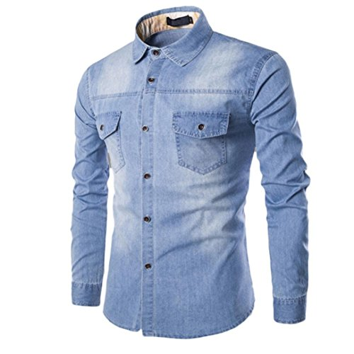 NREALY Men's Fall Casual Fashion Slim Fit Denim Cotton Long Sleeve Shirt Top Blouse(M, Light Blue)