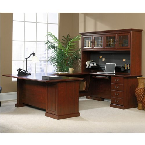 Sauder Office Furniture Heritage Hill Collection Classic Cherry Executive U-Desk with Hutch Cherry Executive Office Desk