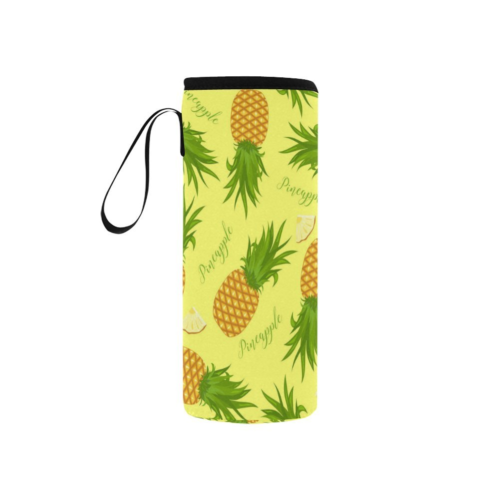 InterestPrint Pineapples Pattern Neoprene Water Bottle Sleeve Insulated Holder Bag 7.04oz-12.67oz, Exotic Fruits Yellow Sport Outdoor Protable Cooler Carrier Case Pouch Cover with Handle