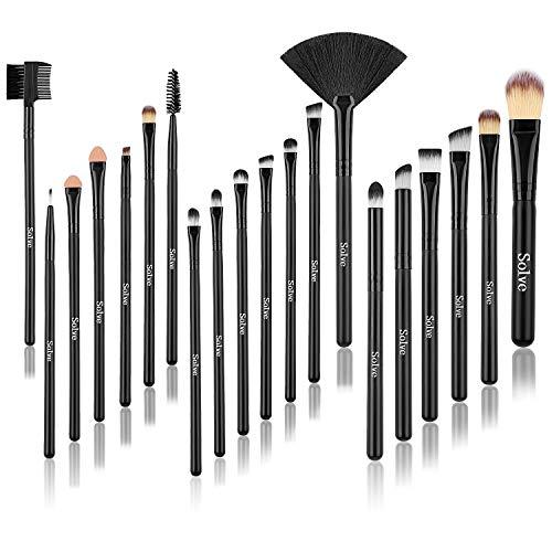 SOLVE 20pcs Eye Brush Set Premium Eyeliner Eyebrow Eyeshadow Sponge Foundation Concealer Lip Makeup Brushes Wood Cosmetics Brush Kit