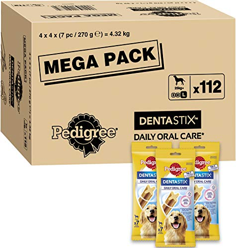 Pedigree Dentastix – Daily Dental Care Chews, Large Dog Treats from 25 kg+, 1 Box (1 x 4.32 kg / Total of 112 Sticks)