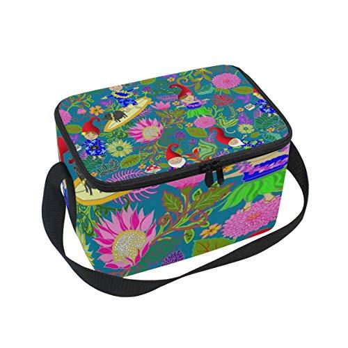 - Lunch Bag Cooler Tote Bag Hawaiian Garden Gnomes Lunchbox Meal Prep Handbag for Picnic School Women Men Kids
