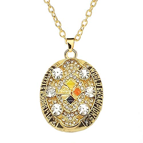 MVPRING Super Bowl Championship Necklaces Pendants,Necklace Circumference 11 Inches (2008-2009 Pittsburgh Steelers)