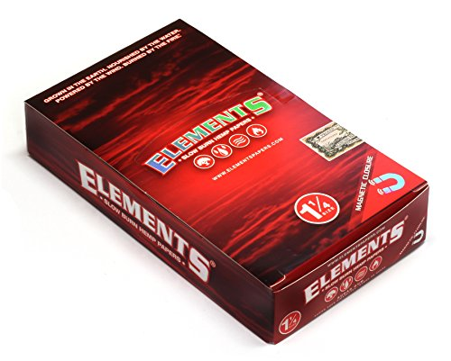 1 box - Elements RED 1 1/4 Slow Burn Hemp rolling paper + Magnetic Closure (Best Slow Burning Joint Papers)