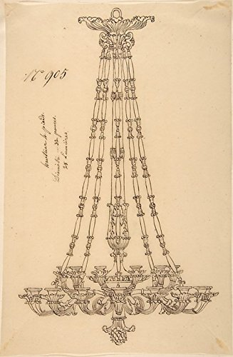 Design for a Hanging Chandelier Poster Print by Anonymous French 19th century (18 x - Chandelier Century 19th