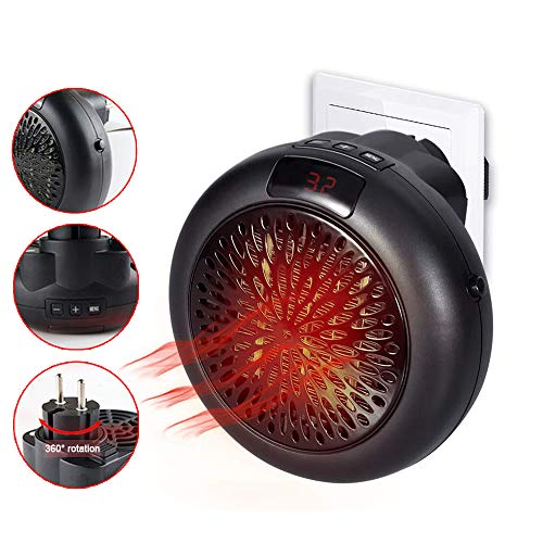 600W Small Heater, Portable Personal Space Heater, Wall Socket Electric...