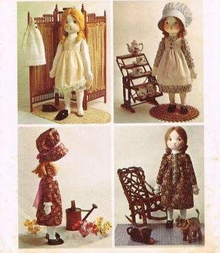 Simplicity 6006 Holly Hobbie Doll Stuffed Rag Doll Vintage 70s Sewing Pattern Clothing ()