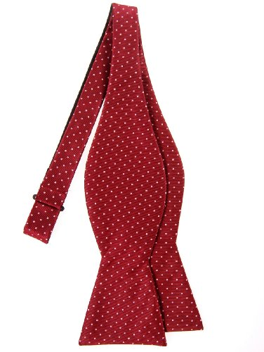 Retreez Pin Dots Woven Microfiber Self Tie Bow Tie - Red Wine with Pink Pin (Wine Pin Dot)