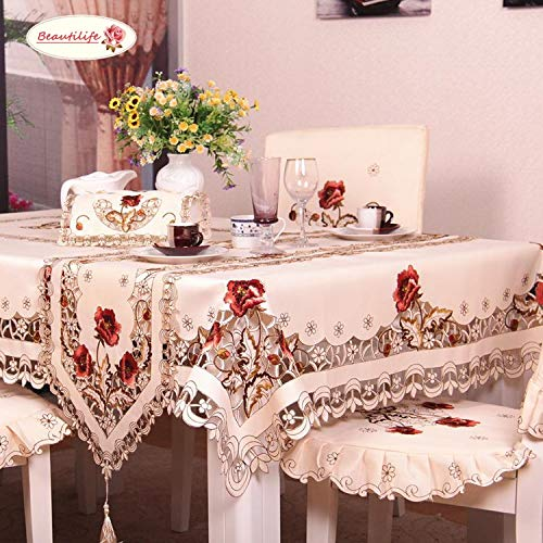 BeautiLife Flower Embroidered Lace Cream Tablecloth Luxury Cutwork Table Cloths Cover -