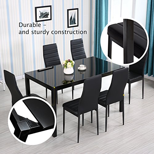Mecor 7 Piece Kitchen Dining Set, Glass Top Table with 6 Leather Chairs Breakfast Furniture,Black by Mecor (Image #5)