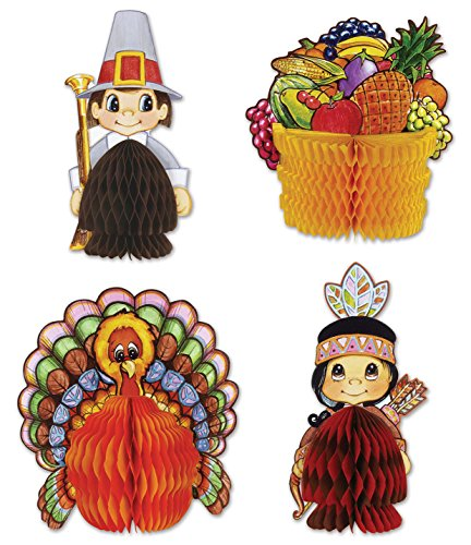 (Beistle 4-Pack Decorative Thanksgiving Playmates, 4-Inch-5-Inch (99711))