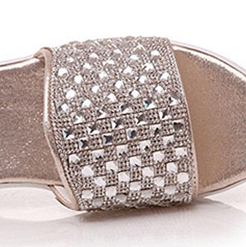 Sole Slide Wedge Casual Womens Sandals Gold Rhinestone Stylish Aisun Thick Xxw4UaPHxq