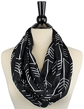 Women's Arrow Patterned Infinity Scarf with Zipper Pocket (Black)