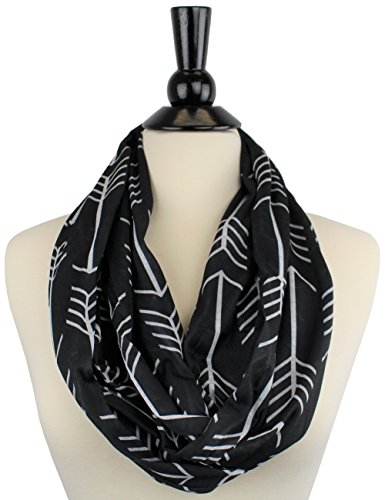 Pop Fashion Womens Arrow Pattern Infinity Scarf Wrap Scarf with White Zipper Pocket, Infinity Scarves