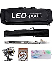 outlife Fishing Tackle Kit with Spinning Rod Reel Combos Line Lures Hooks Travel Bag, for Sea Saltwater Freshwater Boat Fishing, Starter Complete Full Set (2.1M/2.4M)