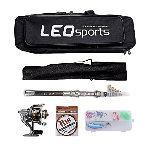 OUTLIFE Fishing Tackle Kit with Spinning Rod Reel Combos Line Lures Hooks Travel Bag, for Sea Saltwater Freshwater Boat Fishing, Starter Professional Full Set ()