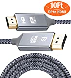 Capshi DisplayPort to HDMI Cable - 10Ft 4K UHD Nylon Braided Gold-Plated DP-to-HDMI