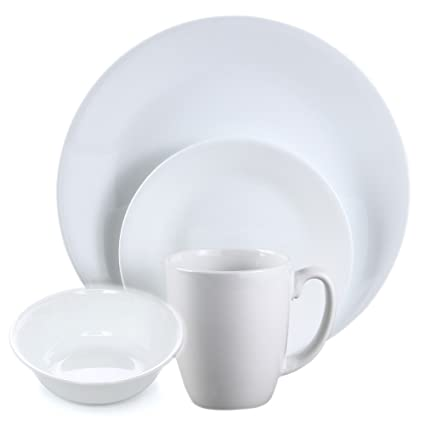 Corelle Livingware Winter Frost White 32 Piece Dinnerware Set for 8 People Corningware Sets Plates Dishes  sc 1 st  Amazon.com : sets of plates - Pezcame.Com