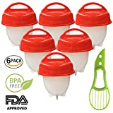 Perfect Egg Cooker, Egglettes, Hard Boiled Egg maker, Without The Shell, Nonstick Silicone, Egg Poachers, Free Avocado Knife, Quick Easy 6 Pack cups, BPA Free