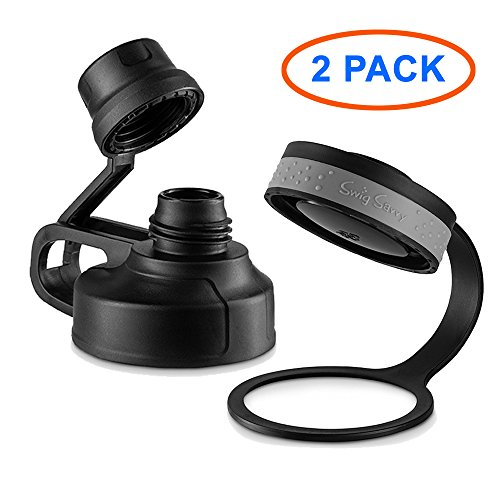 SWIG SAVVY Wide Mouth Sports Water Bottle Lid & Spout Cap – Easy Fit For Wide Mouth Flasks – 2 Pack - Wide Spout Lid