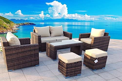 6 Piece Outdoor PE Rattan Wicker Patio Furniture Sectional Sofa Set (Tan) 51IwcL5K3lL