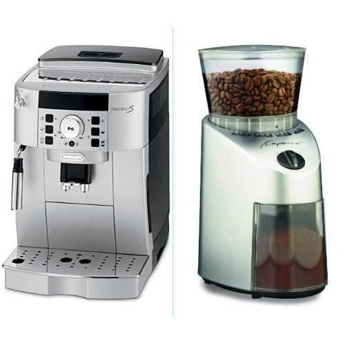 DeLonghi ECAM22110SB Compact Automatic Cappuccino, Latte and Espresso Machine and Capresso 560 Infinity Conical Burr Grinder, Brushed Silver Bundle
