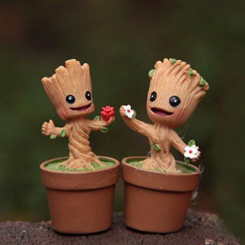 Micro Landscape Design Miniature Super Cute Baby Groot Standing on Flower Pot Figurine Fairy Garden Terrarium Supplies (Both)
