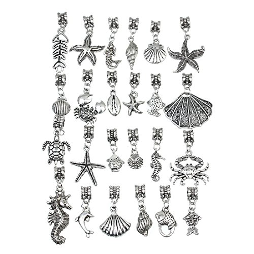 Turtle Shell Charm (Linsoir Beads 20 pcs Mixed Nautical Charms Set Beach Charms Turtle Charms Sea Shell Pendant Octopus Pendant Crab Charm Pendant Bulk Wholesale Lots)
