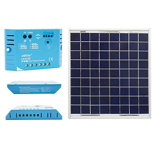 ACOPOWER 15W 12V Solar Charger Kit, 15 Watts Polycrystalline Solar Panel with 5A PWM Charge Controller by ACOPOWER