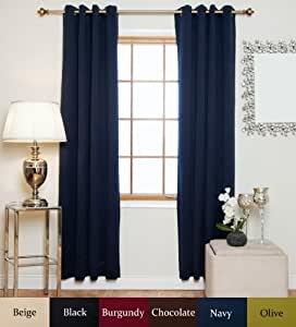 navy antique brass grommet top thermal insulated blackout curtain 96 inch length. Black Bedroom Furniture Sets. Home Design Ideas