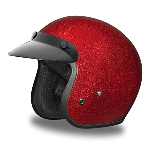 Three Quarter 3/4 Open Face Motorcycle Helmet (Size M, MD, Medium) (Metallic Dot Helmets Motorcycle)