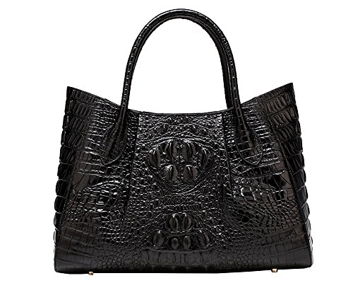 Crocodile Look Leather (Jair Black High End Womens Stylish Crocodile Embossed Office Cross Body Bag Leather Tote Handbag Purse Organizer)