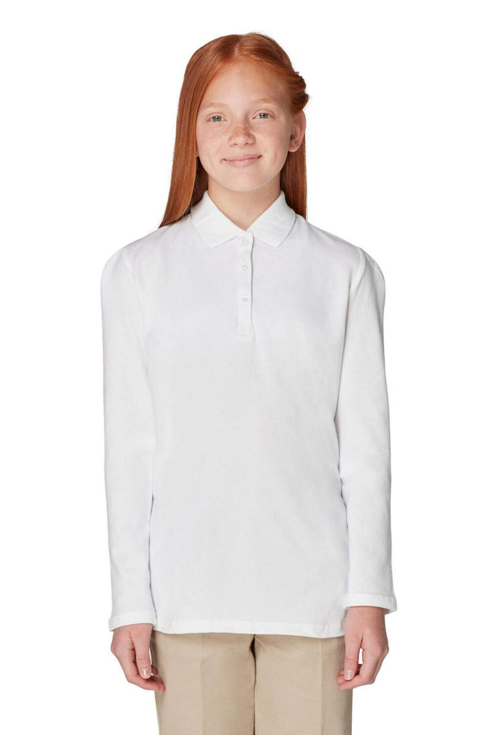 French Toast Girls' Little Long Sleeve Stretch Pique Polo, White, S (6/6X)