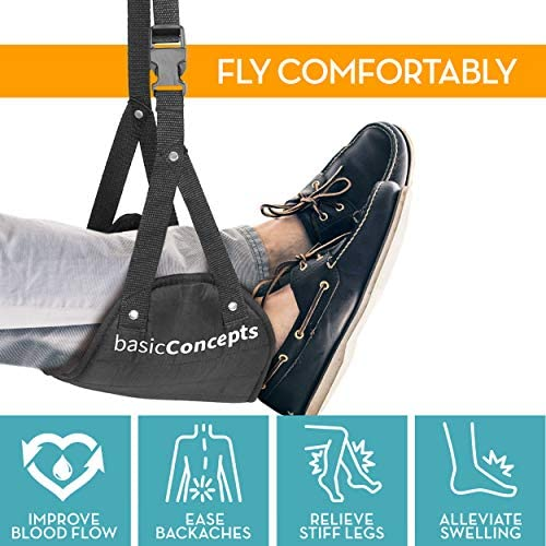 Airplane Foot Hammock (Memory Foam), Perfect Airplane or Office Footrest to Relax Your Feet – Foot Hammock for Airplane Travel Accessories, Desk Foot Hammock, Comfy Foot Hanger Airplane 51Iwd48hmkL