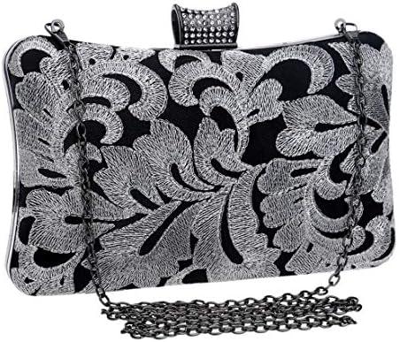 女性のビーズのイブニングクラッチ、財布クロスボディトート、20 * 12 * 6 Cm(色:グレー) 美しいファッション (Color : Gray)