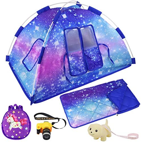 Ecore Fun 5 Items American 18 inch Dolls Camping Tent Set and Accessories Including 18 Inch Doll Tent, Doll Sleeping Bag, Doll Backpack, Toy Camera and Dog