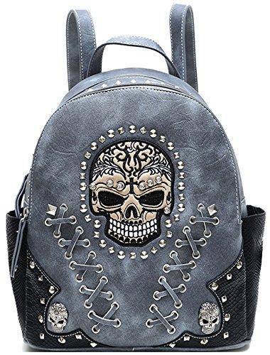 Python Shoulder Handbag Bag Purse - Sugar Skull Punk Art Rivet Studded Biker Purse Women Fashion Backpack Bookbag Python Daypack Shoulder Bag (Grey)