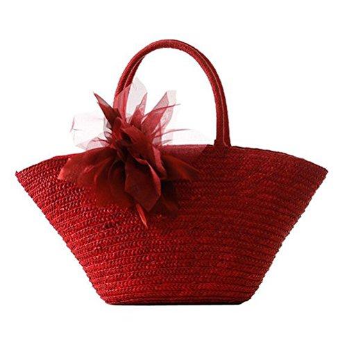 Donalworld Girl Woven Straw Flower Silk Casual Beach Handbag Red