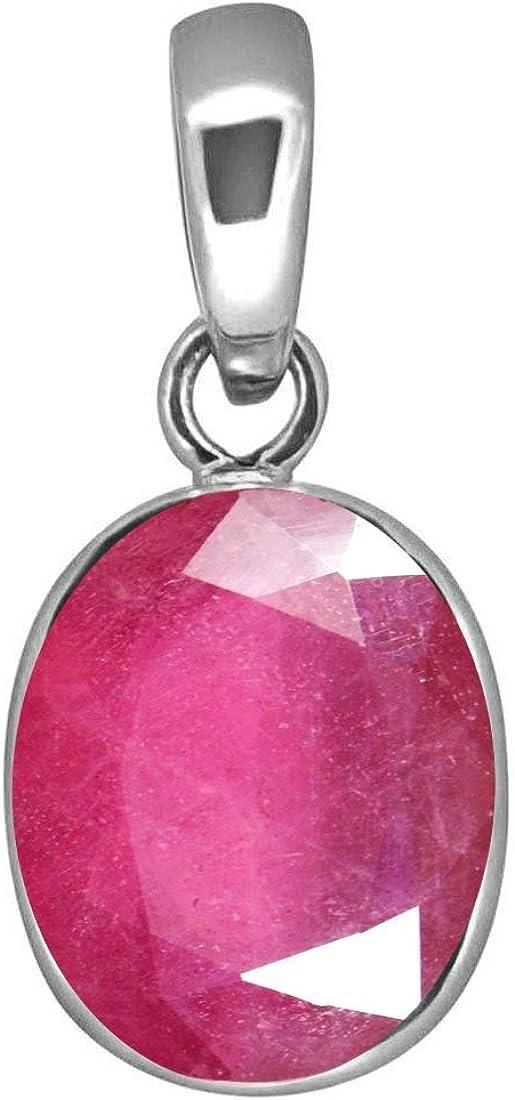 Colgante de rubí natural con forma ovalada de 6 quilates, piedra preciosa astrológica de plata de ley con camafeo y piedra natal