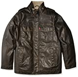 Levi's Men's Big Big & Tall Vintage Deer Faux Leather Sherpa Military Jacket, Dark Brown, 3X-Large Tall