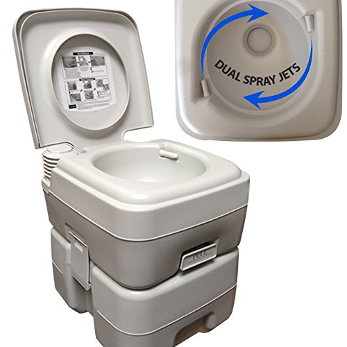 DUAL SPRAY JETS Portable Toilet Flush Camping Travel Hiking Potty Commode 5 Gallon