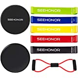 Resistance Bands and Core Sliders, SEEHONOR Resistance Loop Bands Dual Sided Gliding Discs and Exercise Band, 80 Day Obsession Equipment For Awesome Core, Legs, Abs Workouts