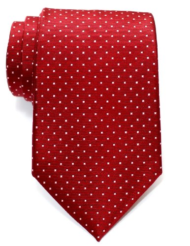 Retreez Pin Dots Woven Microfiber Men's Tie - Red Wine with Pink Pin (Wine Pin Dot)