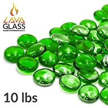 Bond Manufacturing 67985 LavaGlass Round Pit Dispersion Fire Glass, ø 0.66-0.74 in, Emerald City