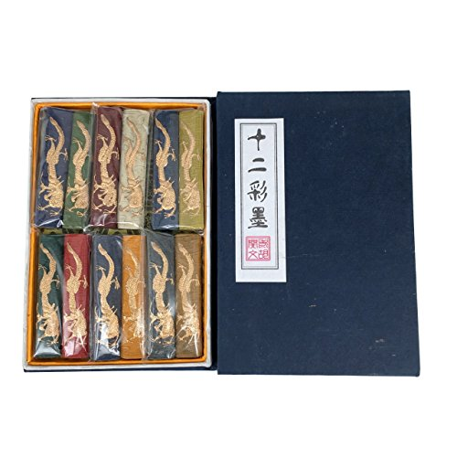 Li Ting Gui Old Hu Kai Wen 12 Colors Dragon Inkstick Set (Brush Wen)