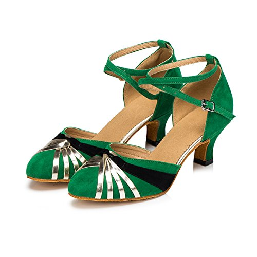 Buckle Dancing 5cm Suede Latin Multicolor Pumps Wedding Salsa Women's Heel Ankle Strap Miyoopark Green Tango Shoes nw8qFvgCWx
