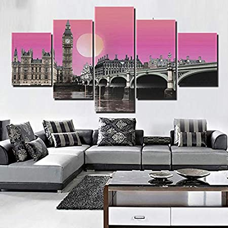 Amazon Com Prints Canvas Painting Picture 5 Pieces Pcs Vapor Wave The Big Ben Modern For Living Room Modular Hd Wall Art Home Decor 10x16 10x22 10x28inches Unframed Posters Prints